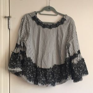 Zara women's line large lace shirt